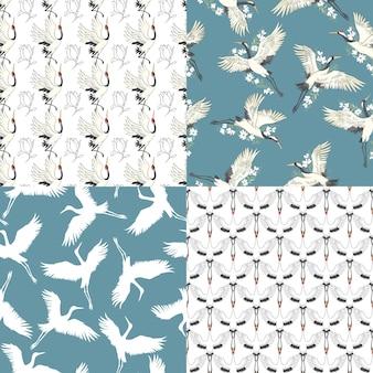 Zestaw wzorów żurawia. bez szwu wzorów. wektor, ilustracja