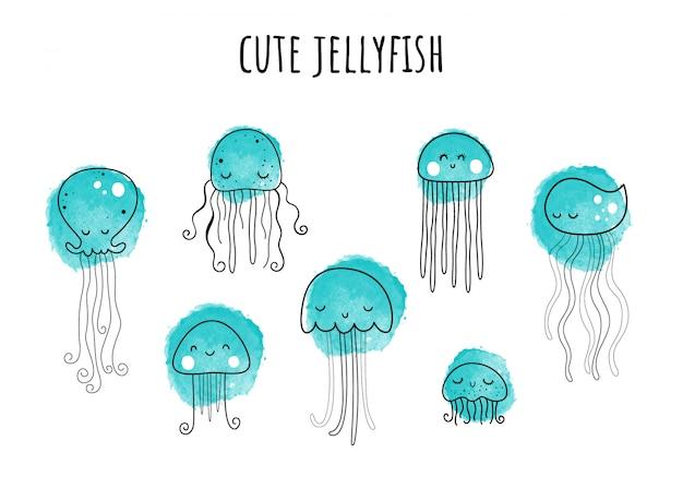 Zestaw z 7 meduzami. ręcznie rysowane stylu