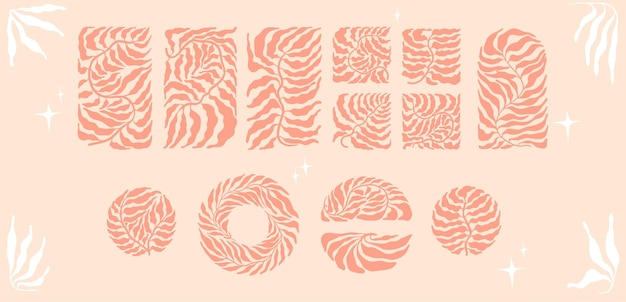 Zestaw z abstrakcyjnymi minimalistycznymi modnymi liśćmi boho w stylu mid-century. sylwetka liści palmowych w kwadracie, kole, półokręgu, prostokącie w ziemistej palecie.