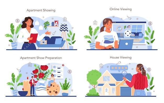 Zestaw z branży nieruchomości agent nieruchomości prezentujący dom lub mieszkanie