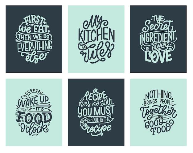 Zestaw z cytatami w ręcznie rysowane niepowtarzalny styl typografii, elementy.