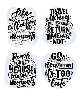 Zestaw z cytatami z inspiracji stylem życia o podróżach i dobrych chwilach, ręcznie rysowane slogany