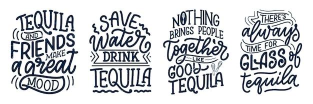 Zestaw z cytatami z napisem o tequili w stylu vintage.