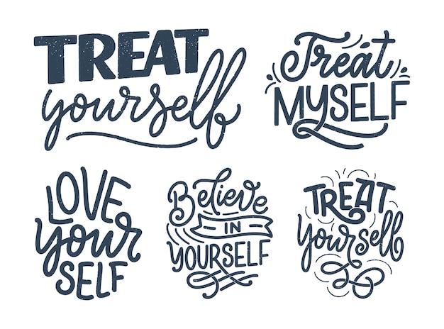 Zestaw z cytatami z napisem selfcare kaligrafia nowoczesna.