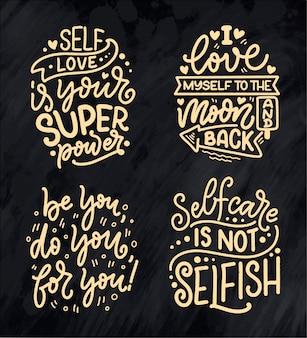 Zestaw z cytatami z napisem selfcare