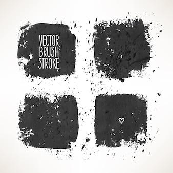 Zestaw z czterema czarnymi obrysami tła. ręcznie rysowana ilustracja