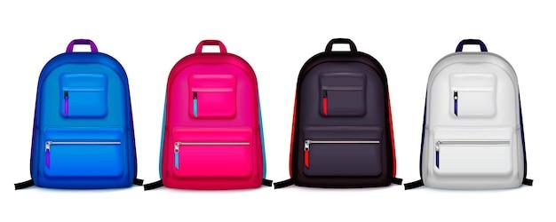 Zestaw z czterema izolowanymi realistycznymi plecakami szkolnymi w różnych kolorach z cieniami na pustej ilustracji