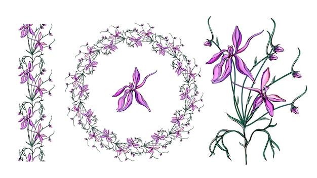 Zestaw z delikatnymi fioletowymi kwiatami.