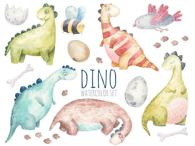 Zestaw z dinozaurami, śliczna akwarela