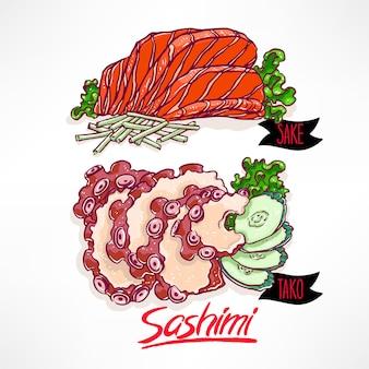 Zestaw z dwoma rodzajami sashimi. łosoś i ośmiornica. ręcznie rysowane ilustracji