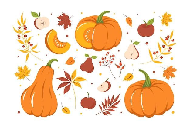 Zestaw z dynią, kolorowymi jesiennymi liśćmi i owocami. projekt karty szczęśliwego dziękczynienia. ilustracja wektorowa
