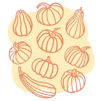 Zestaw z dynią na pomarańczowym tle jesienne żniwa ręcznie utonąć ilustracja wektorowa
