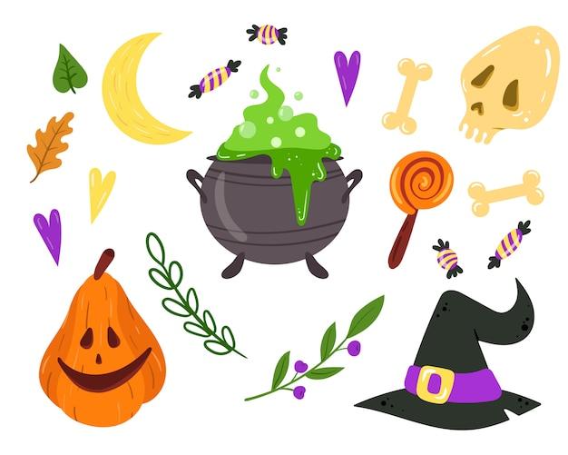 Zestaw z elementami projektu halloween. kocioł czarownic, kapelusz, szkielet dyni i cukierki. kolekcja symboli halloween.