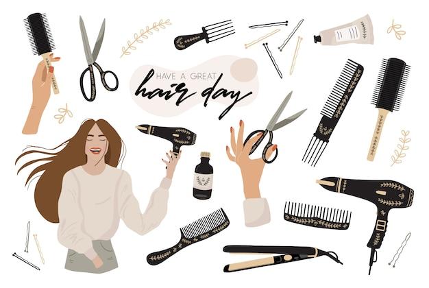 Zestaw z elementami stylisty włosów.