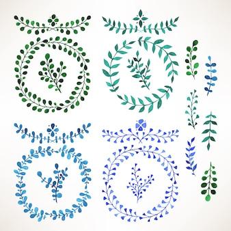 Zestaw z gałązką z akwarela niebiesko-zielonymi liśćmi