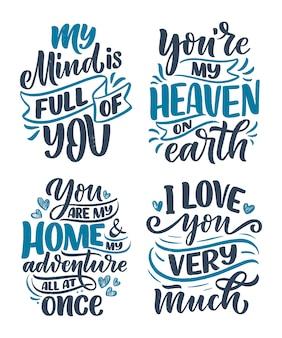 Zestaw z hasłami o miłości w pięknym stylu. kompozycje liternicze.