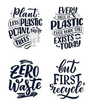 Zestaw z hasłami z napisem na temat recyklingu odpadów.