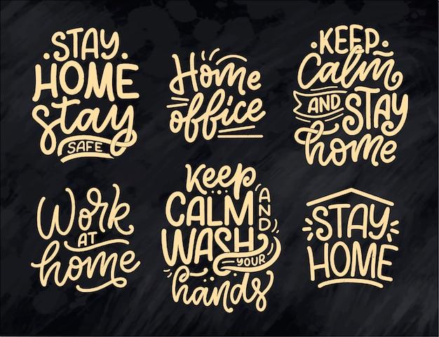 Zestaw z hasłami z napisem o pozostaniu w domu, plakaty typograficzne z tekstem na czas kwarantanny. projekt karty motywacji wyciągnąć rękę. zabytkowy styl.