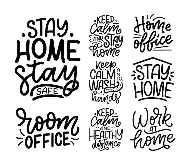 Zestaw z hasłami z napisem o pozostaniu w domu, plakaty typograficzne z tekstem na czas kwarantanny. projekt karty motywacji wyciągnąć rękę.