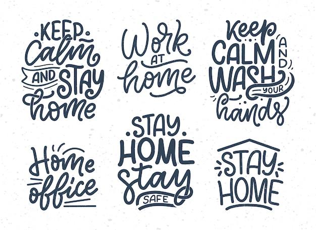 Zestaw z hasłami z napisem o zostaniu w domu, typografii