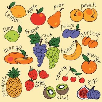 Zestaw z ikonami owoców