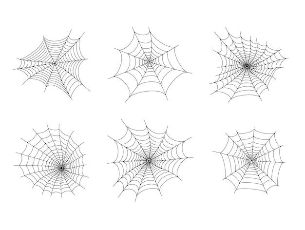 Zestaw z ikonami pajęczyny. halloweenowa dekoracja z pajęczyną. pajęczyna płaski wektor