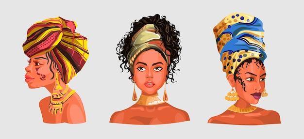 Zestaw z ilustracją afrykańskich lub latynoskich dziewczyn noszących ładne głowy szaliki i kolczyki.