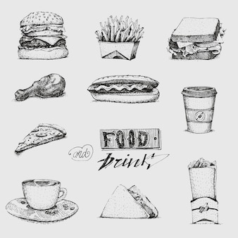 Zestaw z ilustracją fast food. szkic, restauracja, menu. hamburger, hot dog, kanapka, pizza, frytki, lody, taco, bułka, burger, sos