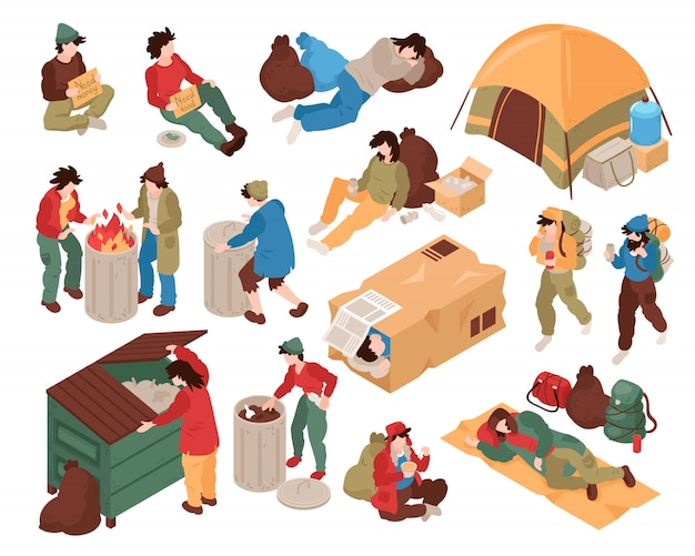 Zestaw z izolowanymi wizerunkami osób bezdomnych, postaci ludzkich i różnych powiązanych obiektów