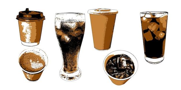 Zestaw z kawą i zimnymi napojami