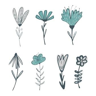 Zestaw z kwiatów na gałązkach z liśćmi na białym tle. streszczenie szkic botaniczny kolor niebieski ręcznie rysowane w stylu doodle ilustracji wektorowych.