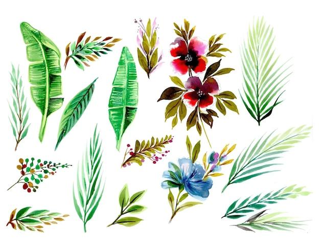 Zestaw z kwiatowymi elementami i akwarelą liści