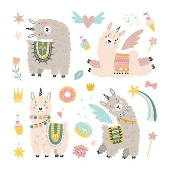 Zestaw z lamą, kaktusem, tęczą i ręcznie rysowanymi elementami.