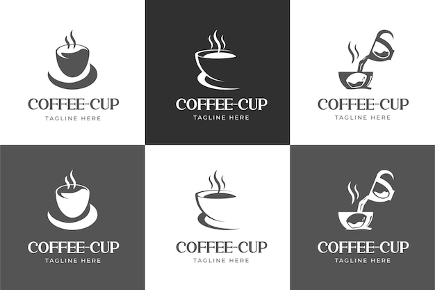 Zestaw z logo filiżanki do kawy w stylu klasycznym i minimalistycznym