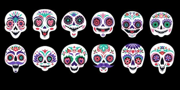 Zestaw z malowanymi czaszkami cukrowymi