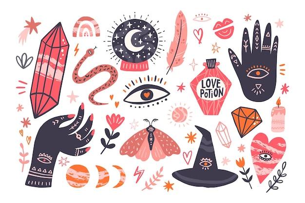 Zestaw z mistycznymi przedmiotami. kryształ, ręka buddy, kapelusz wiedźmy, mikstura miłości i inne. ręcznie rysowane ilustracji wektorowych.