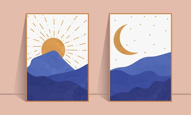 Zestaw z nadrukiem słońca i księżyca w stylu boho