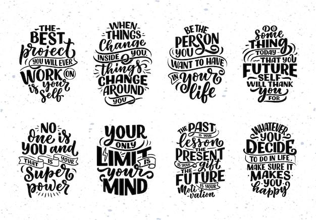 Zestaw z napisami o hasłach bądź sobą. śmieszne cytaty do bloga, plakatu i projektowania druku. współczesne teksty kaligraficzne o dbaniu o siebie. ilustracja wektorowa