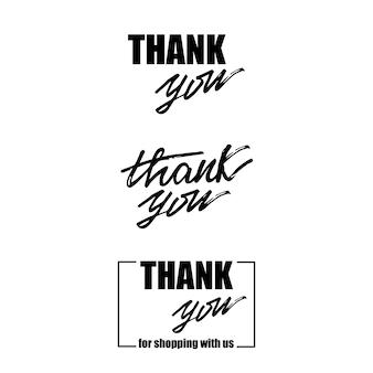 Zestaw z napisem dziękuję. ilustracji wektorowych.