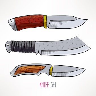 Zestaw z nożami myśliwskimi. ręcznie rysowane ilustracji