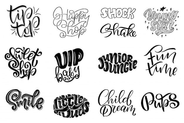 Zestaw z oryginalnymi ręcznie rysowanymi ilustracjami. napis i logo sklepu dla dzieci.