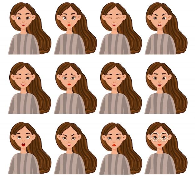 Zestaw z postacią kobiecą o różnych wyrazach twarzy i emocjach. styl kreskówki. ilustracja.