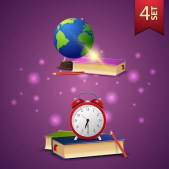 Zestaw z powrotem do szkoły ikony 3d, globus, podręczniki szkolne, podręczniki szkolne i budzik