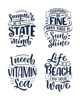 Zestaw z ręcznie rysowane kompozycje napis o lecie. śmieszne hasła sezonu. pojedyncze cytaty kaligrafii.
