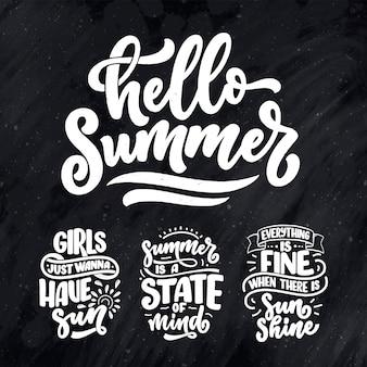 Zestaw z ręcznie rysowane kompozycje napis o lecie. śmieszne hasła sezonu.