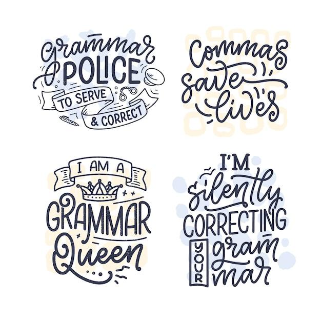 Zestaw z ręcznie rysowanymi kompozycjami na temat gramatyki.