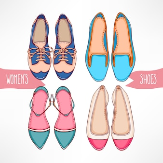 Zestaw z różnych ręcznie rysowane buty na białym tle
