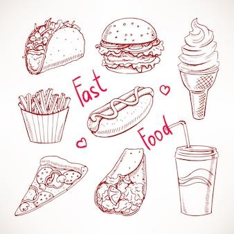 Zestaw z różnymi ilustracjami fast food