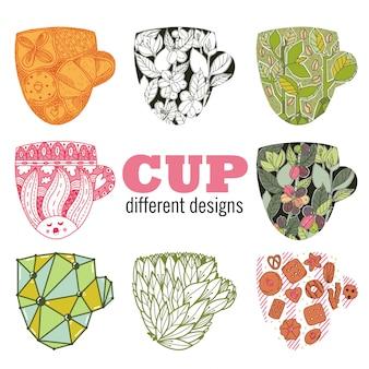 Zestaw z różnymi miseczkami. 8 różnych filiżanek w stylu ciągnione doodle. dobry dla biznesu