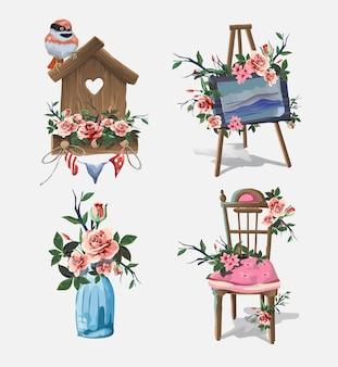 Zestaw z różnymi przedmiotami gospodarstwa domowego ozdobionymi kwiatami. śliczne małe romantyczne zdjęcia z kwiatami.sztaluga artystyczna, butelka na prezent, piękne krzesło kabaretki, pudełko upominkowe, domek dla ptaków. piękne różowe róże. na białym tle